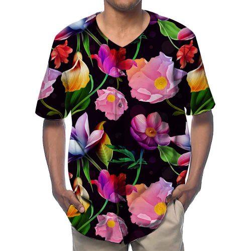Black Flowers Baseball Shirts