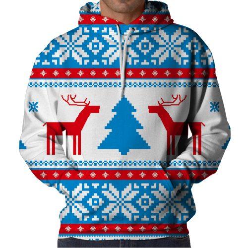 Christmas Blue Deer Hoodie Front